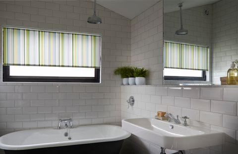 Lexi Luscious Green Roller blind bathroom