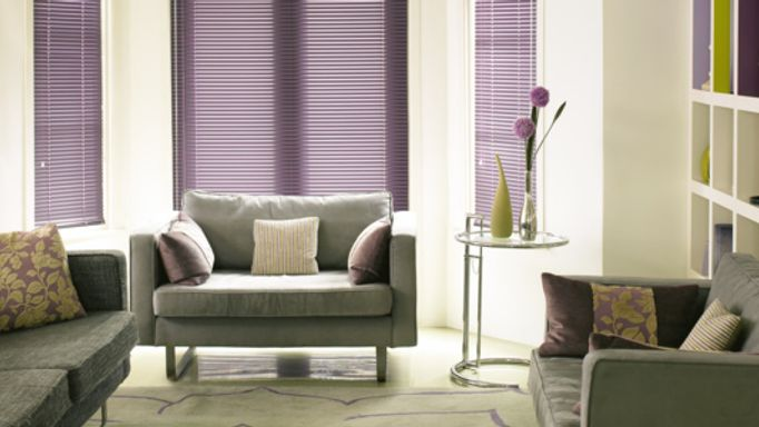 Purple Venetian Blind in the Living room window - Portfolio Damson living room Venetian blind