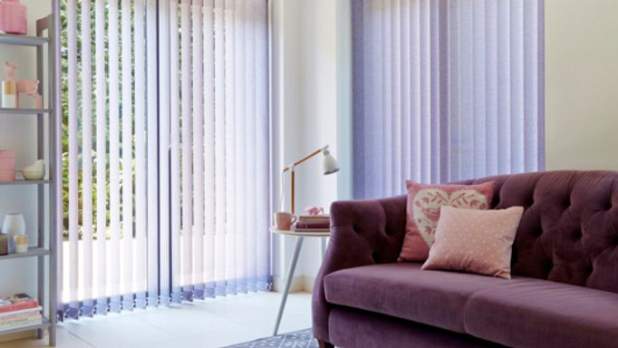 Purple Vertical Blind in the Living Room - Pattie Violet Living Room Vertical blind