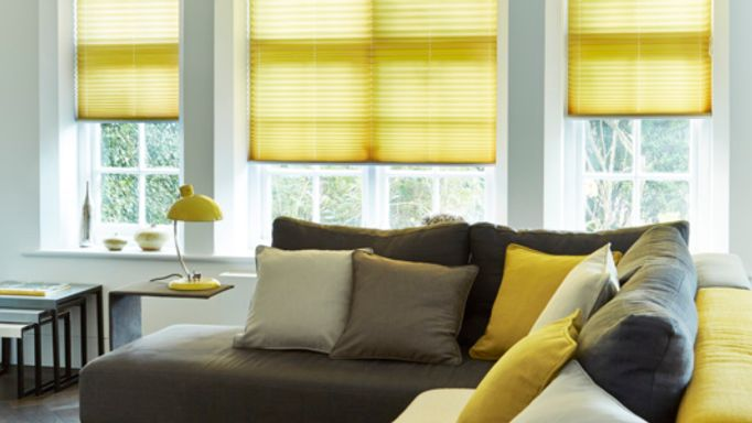 Yellow Living Room Pleated Blind - Grenoble Citrus Pleated blind