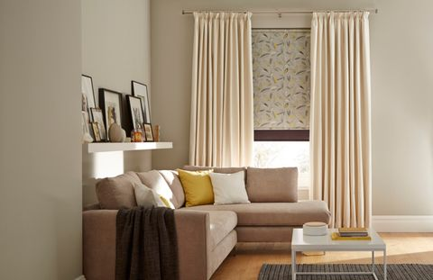 Daze Ivory curtains layered with Joya Roller blind and Norfolk Charcoal Roller blind