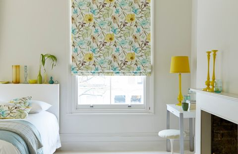 House Beautiful Origins Citrine Roman Blind in Bedroom with yellow and blue accents