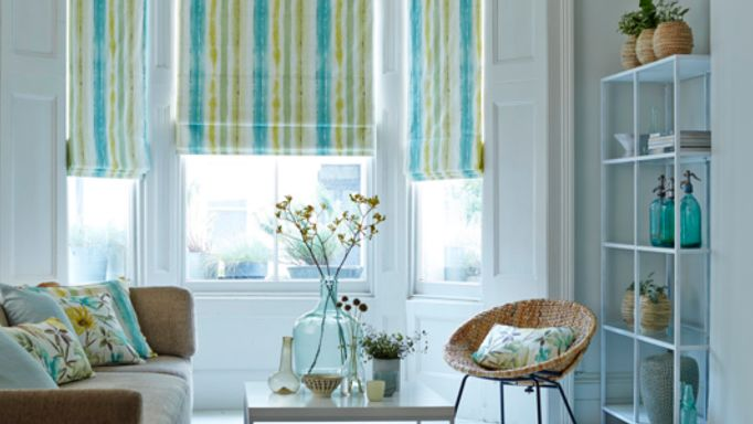 House Beautiful Cascade Citrine Roman blinds