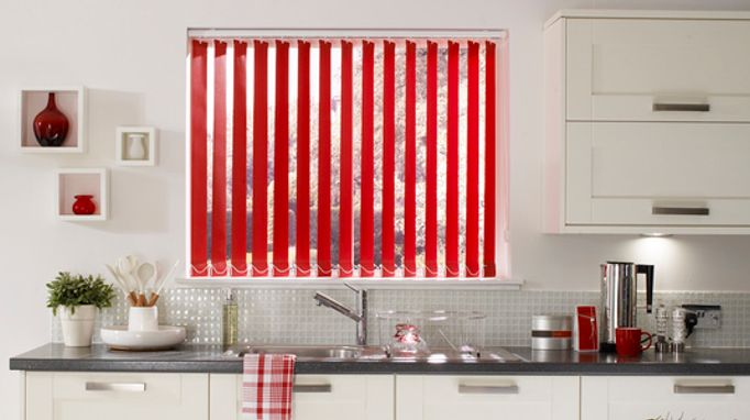 Acacia Pillarbox Red Vertical blind