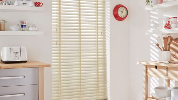 Ivory faux wood Venetian blinds