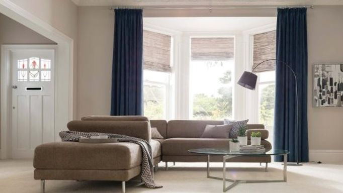 Element-Denim-curtains-with-Riviera-Dusk-Roman-blind-living-room