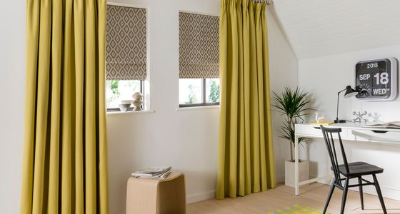 Natur-Tetbury-Mustard-curtains-with-Laverne-Glacier-Roman-blind-home-office -