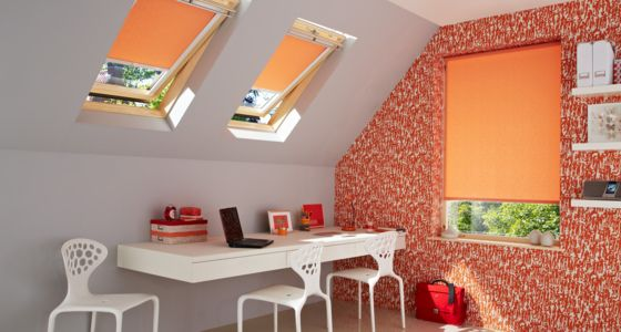 Sherbourne-Orange-Roller-blind-home-office -