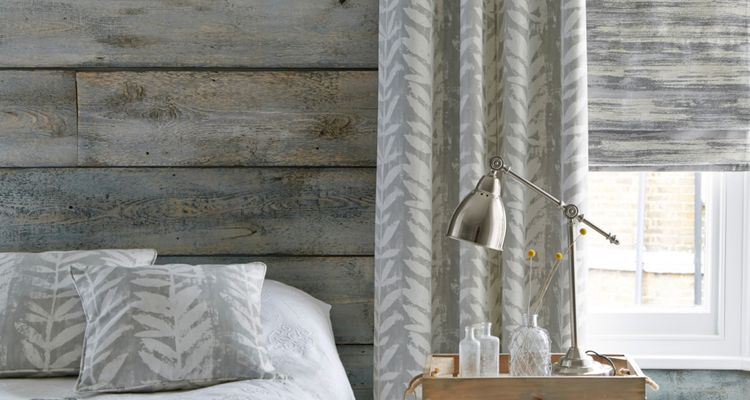 Isra-Dove-Grey-curtains-with-Riviera-Dusk-Roman-blind-bedroom