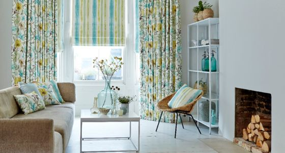 House-Beautiful-Origin-Citrine-curtain-with-Cascade-Citrine-roman-blind-living-room -