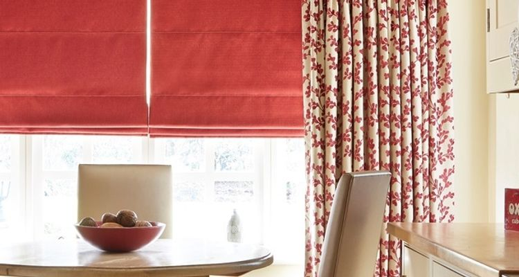 Aurella Claret-curtains-with-Bardot Redcurrant-Roman blind