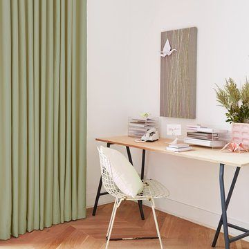 Green Made to Measure Curtains in the Study - Radiance Zest Curtains