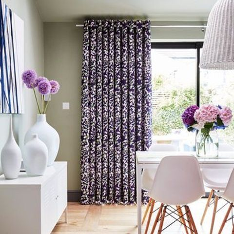 Purple patterned Eyelet Curtains in the Dining Room - Grapeflower Berry
