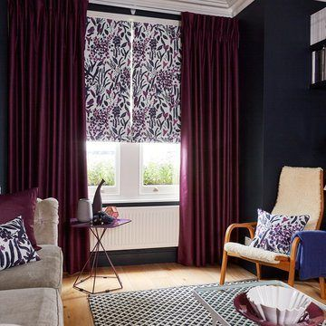Purple Pencil Pleat Curtains with Purple patterned Roman Blinds - Radiance Berry and Sorana Violet