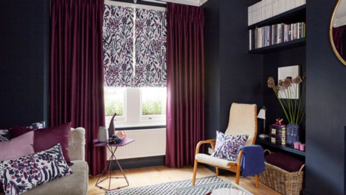 Charlotte-Beevor-Radiance-Berry-curtains-with-Sorana-Violet-Roman-blind-living-room