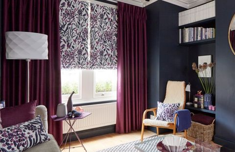 Charlotte Beevor_Indigo Garden_Radiance Berry_Curtain_with_Sorana Violet_Roman-blind-living-room