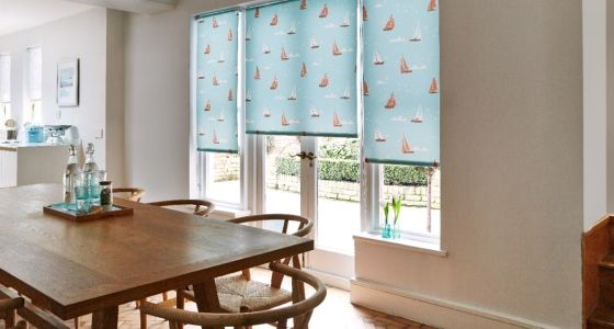Boats-Teal-Roller-blind -