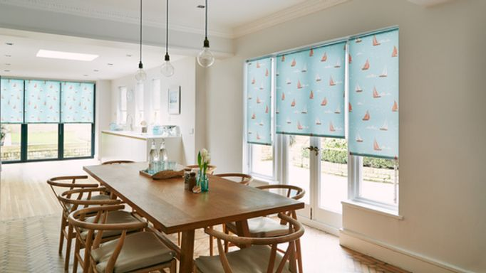 Boats Patterned Roller Blind in a Bifold Door - Boats Teal Roller Bifold Door Blind
