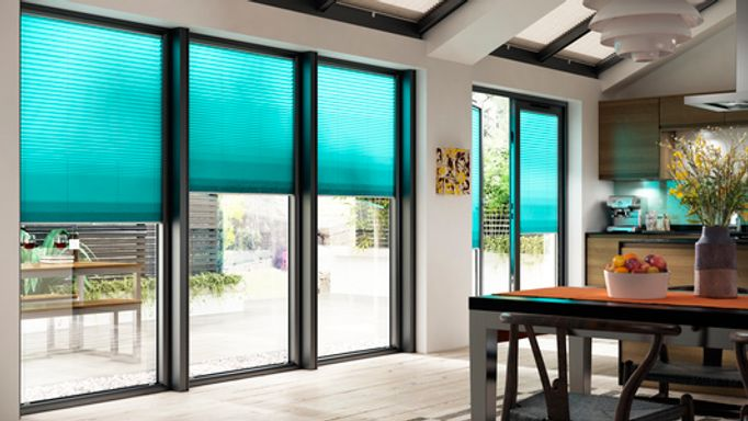 Turquoise Pleated Blind in a Bifold Door - Midas Turquoise Bifold door blind
