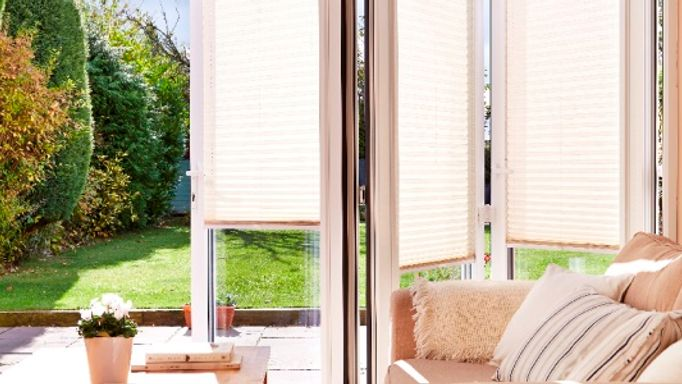 Sand Coloured Pleated Blind in a Bifold door - Montoya Sand Made to Measure Pleated blinds for bifold doors