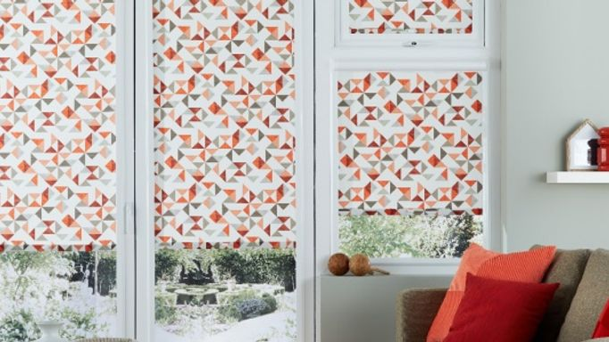 Patterned Perfect Fit Roller Blind in a Bifold Door - Padro Blush Perfect Fit Bifold door blind