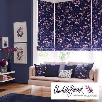 Sorana Indigo Blue Roman Blind from the Charlotte Beevor range