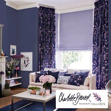 Radiance Lavender roman blind and Sorana Indigo curtains