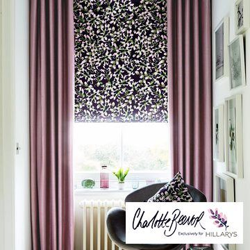 Made to measure purple curtains combined with a purple patterned roman blind - Radiance Mauve Curtains and Grapeflower Berry Roman Blinds