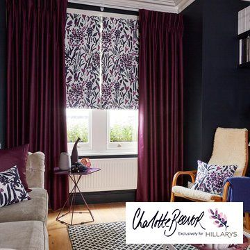 Sorana Violet Roman blind and Radiance Berry curtains