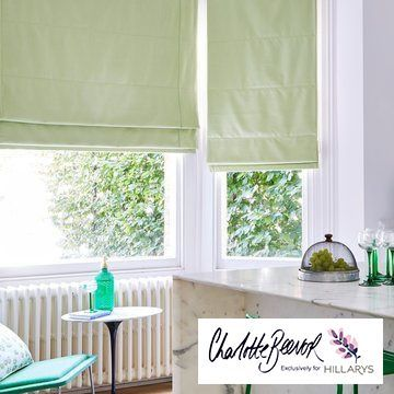 Radiance Zest green roman blind in the kitchen