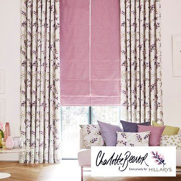 Patterned made to measure curtains combined with a pink roman blind in the living room - Petala Blossom curtains and Radiance Mauve Roman blind