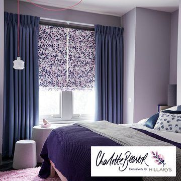 Purple Made to Measure Curtains with A Purple Floral Roman Blind in a bedroom window - Iris Shadow curtains and Grapeflower Blush Roman blind