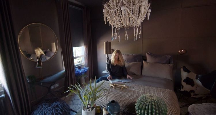 Abigail Ahern in the bedroom of her London home