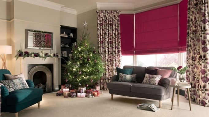 Bardot-Fuschia-Roman-blind-with-Bohemia-Damson-curtains
