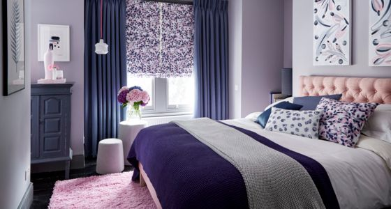 Grapeflower-Blush-Roman-blind-with-Iris-Shadow-curtains -