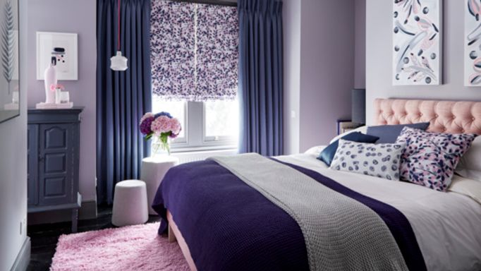 Grapeflower-Blush-Roman-blind-with-Iris-Shadow-curtains