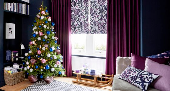 Sorana-Violet-Roman-blind-with-Radiance-Berry-curtains -