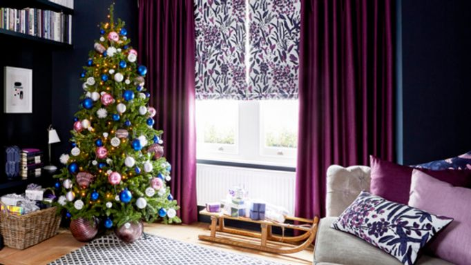 Sorana-Violet-Roman-blind-with-Radiance-Berry-curtains