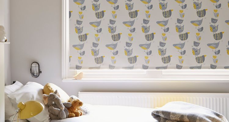 Yellow patterned roller blind-Bedroom-Dickie bird.jpg