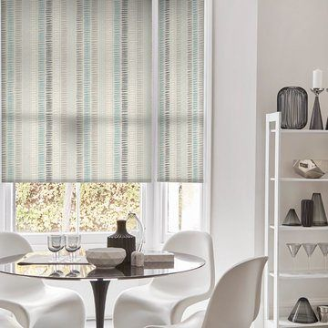 blue striped dining room roller blind-DASH-TEAL
