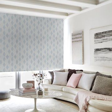 blue patterned roller blind in the living room-PERISCOPE-SLATE