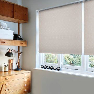 made to measure beige roller blind in the study-SOLITAIRE-BLUSH