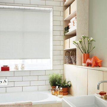 Made to measure grey bathroom roller blind--ETCH-DOVE