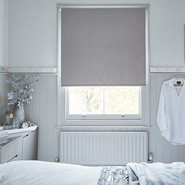 grey made to measure roller blinds in the bedroom-LARSEN-DOVE