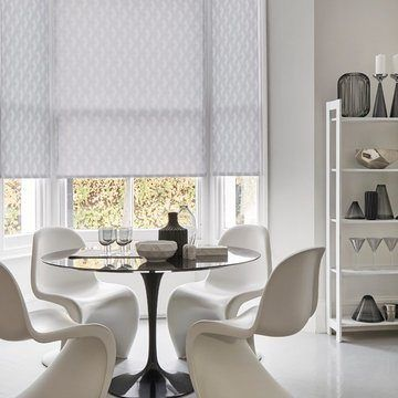 Grey dining room  roller blinds-OBLIQUE-SILVER