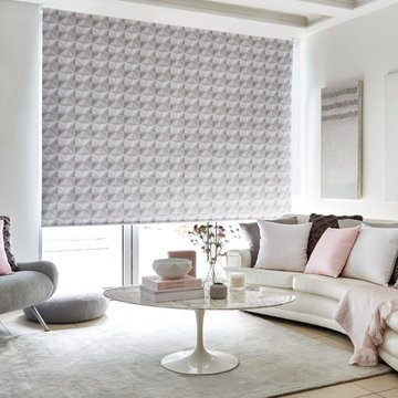 Grey living room roller blind OPTICAL-GREY