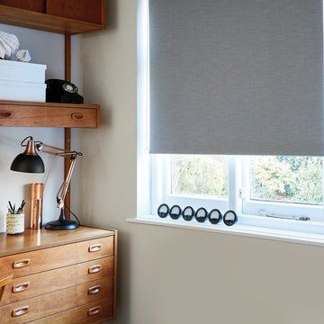 Grey roller blinds in the study-LARSEN-CHARCOAL