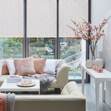 pink roller blind in the living room-PERISCOPE-BLUSH