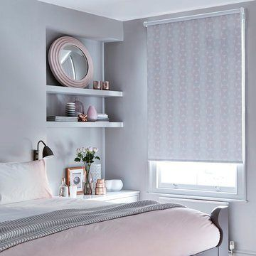 pink roller blind in the