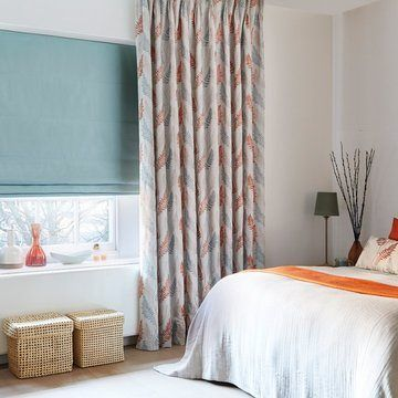 Made to Measure Patterned Pinch Pleat Curtains with a roman blind in the bedroom - Tranquility Dawn Pinch Pleat Curtain, Tetbury duck egg Roman Blind